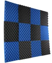 "New Level 12 Pack- Ice Blue/Charcoal Acoustic Panels Studio Foam Egg Crate 1"" X 12"" X 12"""