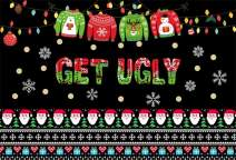 AOFOTO 7x5ft Ugle Sweater Party Backdrop Decor Hanging Vintage Green Red Sweaters Santa Claus Snowflakes Gifts Pattern Let's Get Ugly Theme Christmas Background for Photography Photo Studio Prop Vinyl