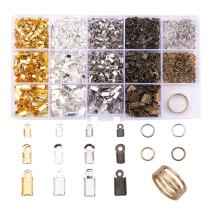 PandaHall Elite 1800 Pcs Jewelry Making Findings Kits with Iron Cord Ends and 6mm Jump Rings 174x100x21.5mm Mixed Color