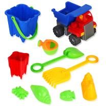 Liberty Imports 2-in-1 Beach Dump Truck with Sand Castle Mold Builder Bucket Toy Set (10 Pcs)