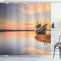 "Ambesonne Nautical Shower Curtain, Vessel on Coast Long Exposure Dramatic Sunset Photo Solitude Lonely Twilight Theme, Cloth Fabric Bathroom Decor Set with Hooks, 84"" Long Extra, Peach Blue"