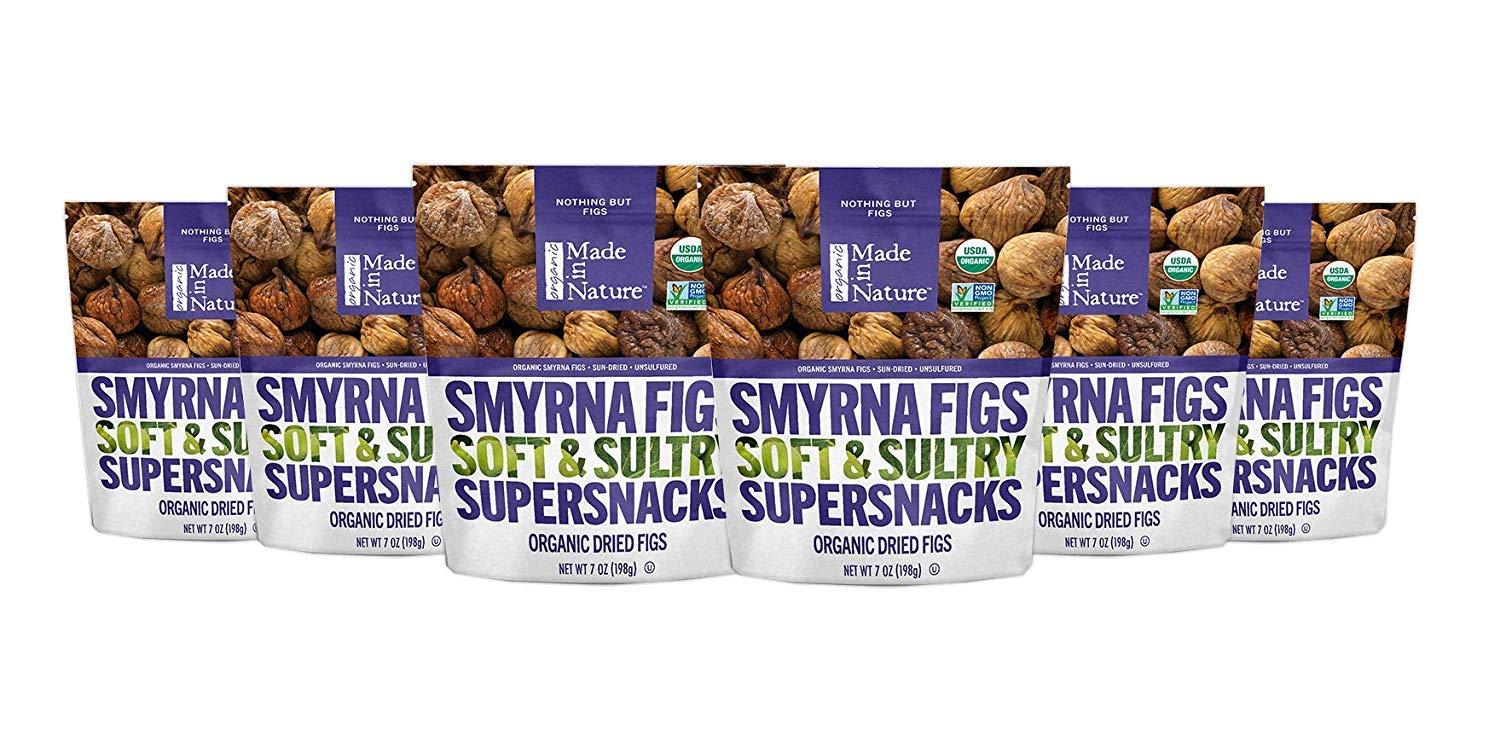 Made In Nature Organic Dried Smyrna Figs, 7 oz (Pack of 6) - Non-GMO Vegan Dried Fruit Snack