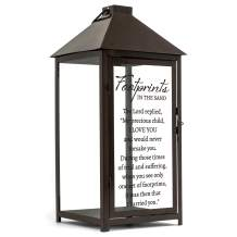 Cottage Garden Footprints in The Sand My Precious 15.75 inch Dark Brown Metal & Glass LED Candle Lantern