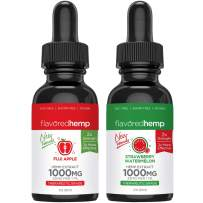 (2-Pack) Hemp Oil Extract for Pain, Anxiety & Stress Relief - Fuji Apple & Watermelon 1000MG of Organic Hemp Extract - Grown & Made in USA - 100% Natural Hemp Drops -Helps with Sleep, Skin & Hair