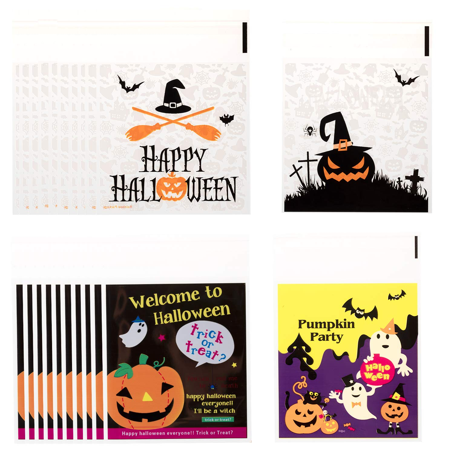 Whaline 200Pcs Halloween Candy Bag, Self Adhesive Clear Cookie Treat Bags, Cellophane Plastic Gift Bags for Halloween Party Supplies, Homemade Craft, Snack Gift Packing (4 Styles)