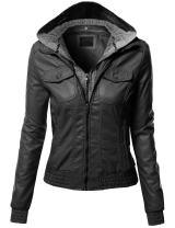 Xpril Women's Casual Zipper Closure Stitch Detailed Moto Hoodie Jacket