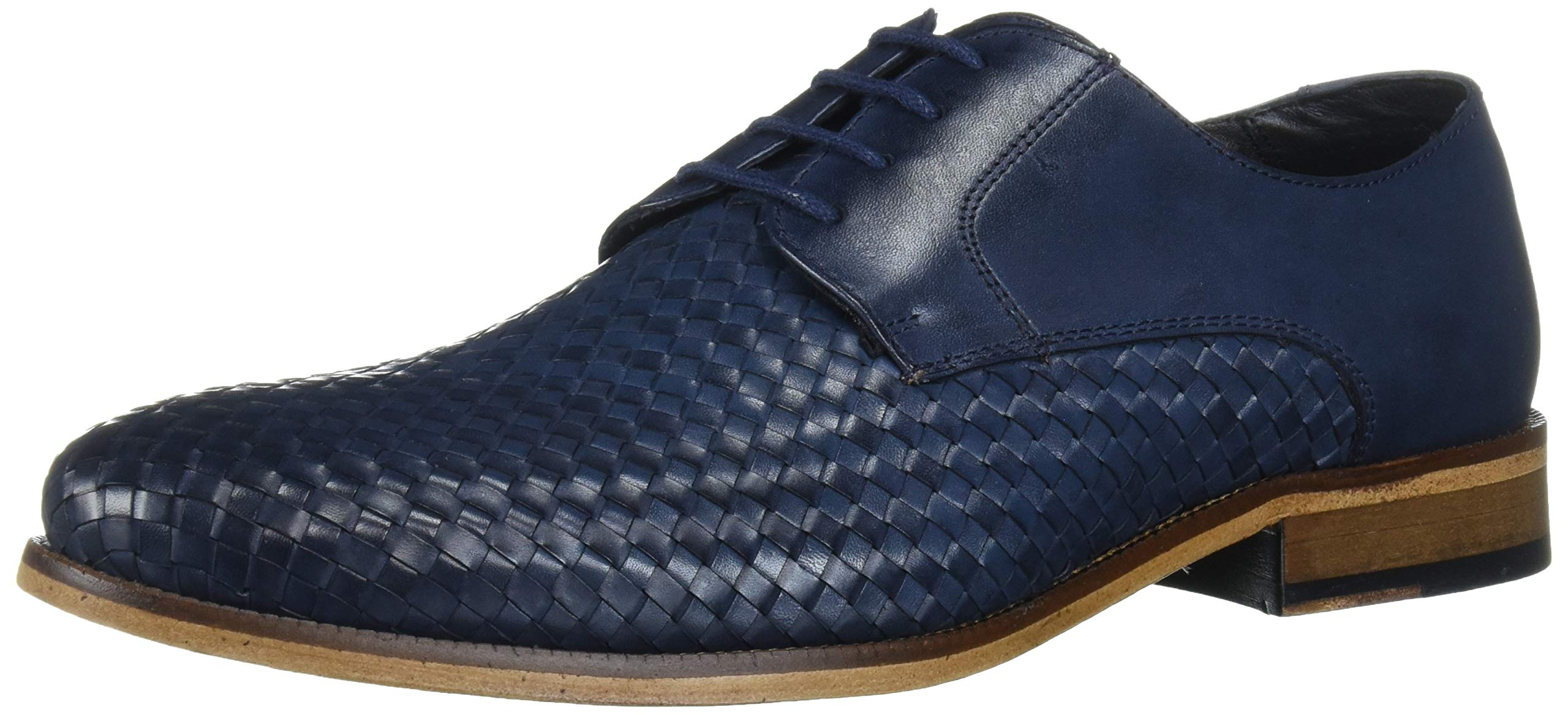 MARC JOSEPH NEW YORK Men's Leather Gold Collection Dress Woven Oxford
