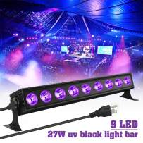Black Lights Elfeland 9LED 27W LED UV Blacklight Bar with US Plug Glow in The Dark Party Supplies for Chrismas Blacklight Party Stage Lighting Body Paint Fluorescent Poster Birthday Halloween Party