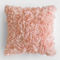 MIULEE 3D Decorative Romantic Stereo Chiffon Rose Flower Pillow Cover Solid Square Pillowcase for Sofa Bedroom Car 16x16 Inch 40x40 cm Peach Pink