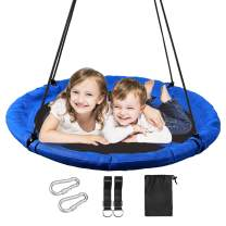 """REDCAMP 43"""" Saucer Tree Swings for Kids and Adults, Heavy Duty Extra Large Round Swing for Swingset Outside Outdoor Playground Backyard, Blue"""