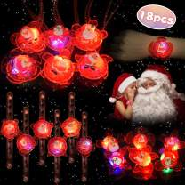 LEEHUR Christmas LED Ring Necklace Bracelet Party Favors for Girls 18pcs Light Up Glow in The Dark Toys Flashing Birthday Class Prize Easter Party Stocking Stuffers Goodies Bag Supplies Valentine Gift