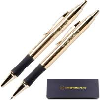 Dayspring Pens - Personalized Monroe 18 Karat Gold Plated Gift Pen and Pencil Set. Custom Engraved Fast, Great Gift for Man or Woman with Real Gold Plating. Gift Case Included.