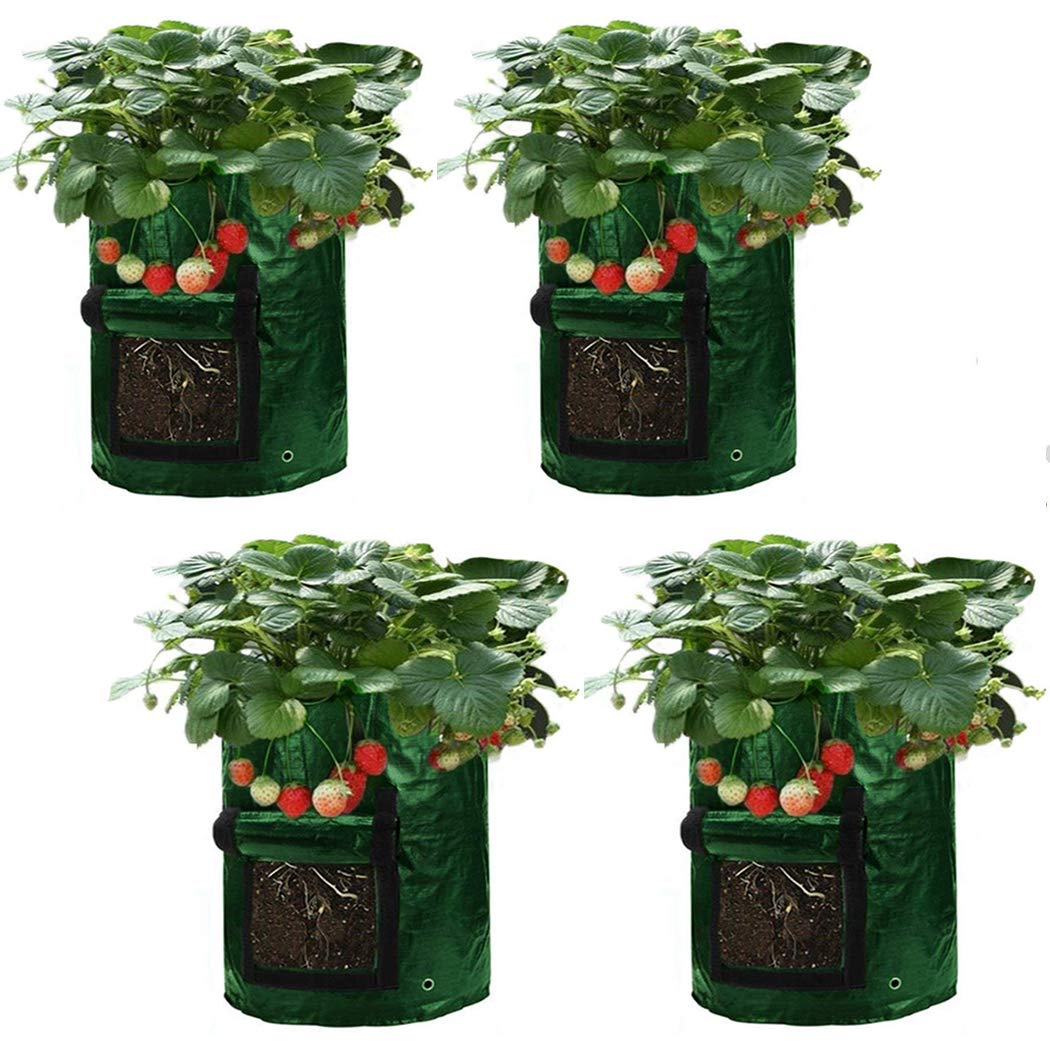 Asunflower 10 Gallon Potato Grow Bags, 4 Pack Garden Planting Bags Potatos Planter Tub with Access Flap for Harvesting,Vegetable Packs w/Holes for Drainage -US Shipping