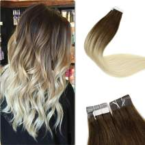 LaaVoo 22 Inch 100 Human Hair Balayage Ombre Hair Extensions Color #4 Chocolate Brown Fading to #60 Plautinum Blonde Skin Weft Tape in Hair Extensions 50g 20 Pcs Per Package