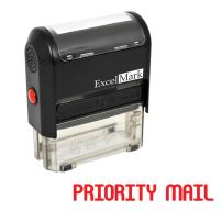 Priority Mail Self Inking Rubber Stamp - Red Ink (ExcelMark A1539)