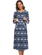 Women's Sleepwear Snowflake Printed Hooded Pocket Sweatshirt Nightgown Dress Knee Length Lounge Dresses