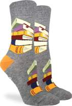 Good Luck Sock Women's Stack of Books Socks - Grey, Adult Shoe Size 5-9