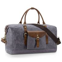 Plambag Oversized Duffel Bag, Water-repellent Canvas Leather Trim Overnight Luggage Bag(Gray)