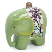 FORLONG FL2020 Ceramic Piggy Bank for Boys and Girls,Big Elephant Money Coin Bank Baby Nursery Decor,Gift for Kids-Green