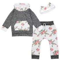 3 Pcs Baby Girls Clothes, Long Sleeve T-Shirt Tops Floral Pants with Headband Toddler Girl Outfits Set 0-5T