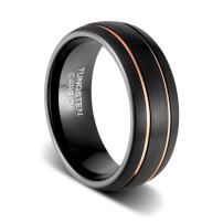 TUSEN JEWELRY Mens Wedding Band 8mm Black Tungsten Ring Brushed Matte Double Groove Rose Gold Inlay Dome