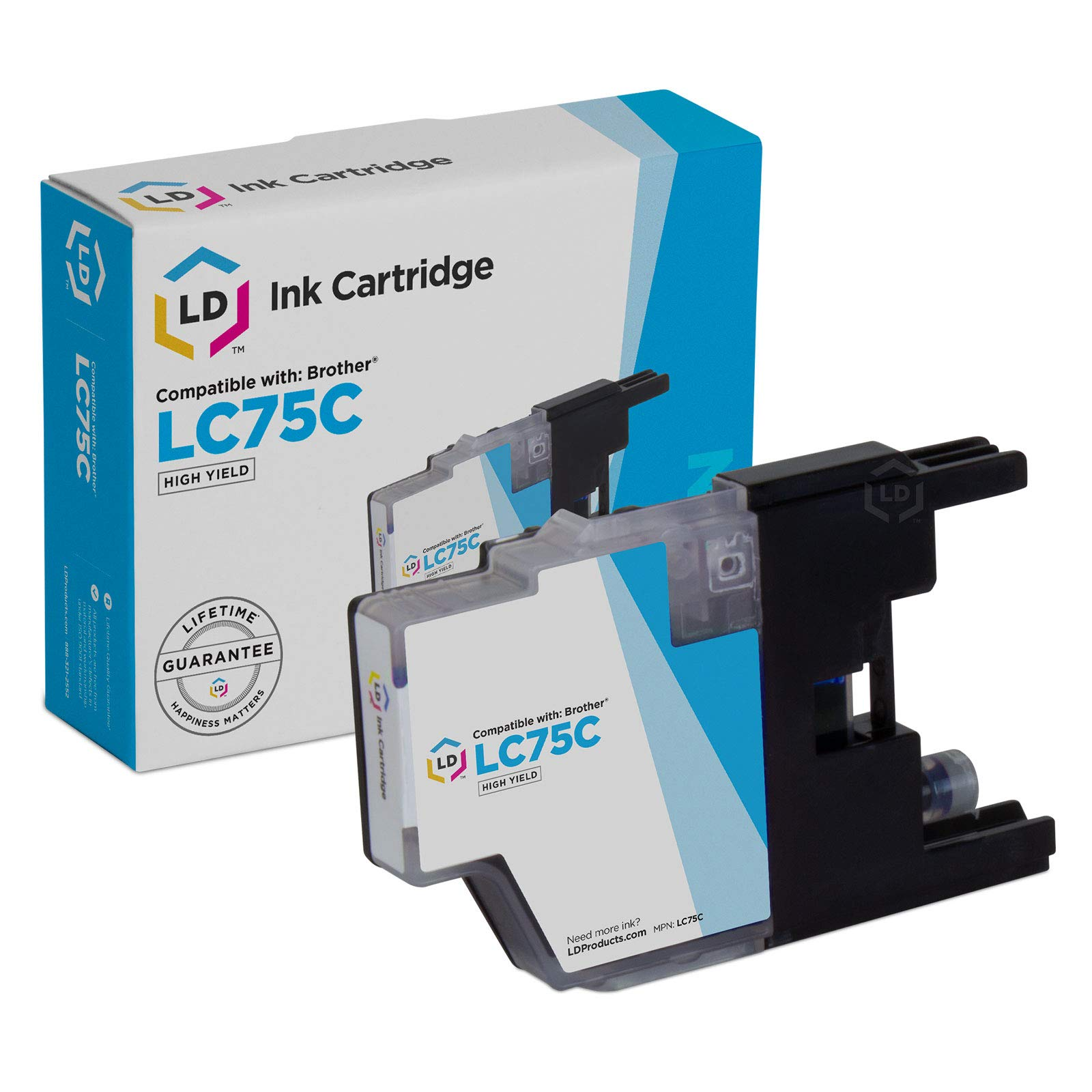 LD Compatible Ink Cartridge Replacement for Brother LC75C High Yield (Cyan)