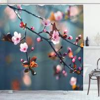 """Ambesonne Nature Shower Curtain, Japanese Blooming Cherry Tree Flowers on Branch Sakura Theme Picture, Cloth Fabric Bathroom Decor Set with Hooks, 84"""" Long Extra, Pink Orange"""