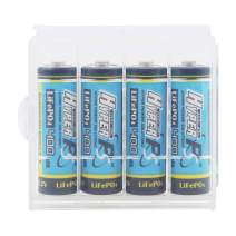 (4-Pack) HyperPS 3.2V LiFePo4 14430 4/5 AA (14 x 43mm) 400mAh Rechargeable Battery for Solar Panel Light, Tooth Brush, Shaver, Flashlight with a Battery Carry case