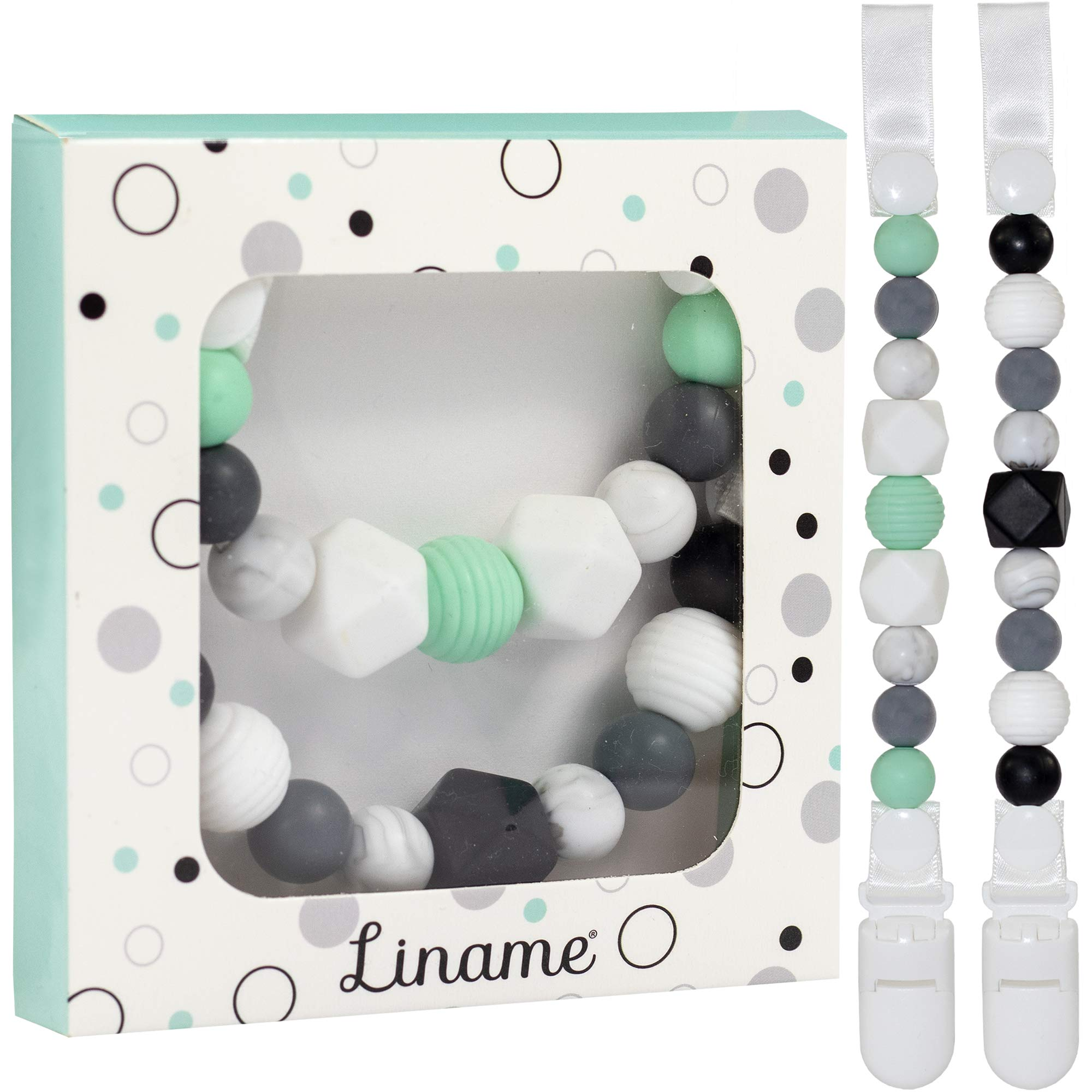 Liname Silicone Pacifier Clip for Boys and Girls - 2 Pack Gift Packaging - Premium Quality & Unique Design - Pacifier Clips Fit All Pacifiers & Soothers - Perfect Baby Gift