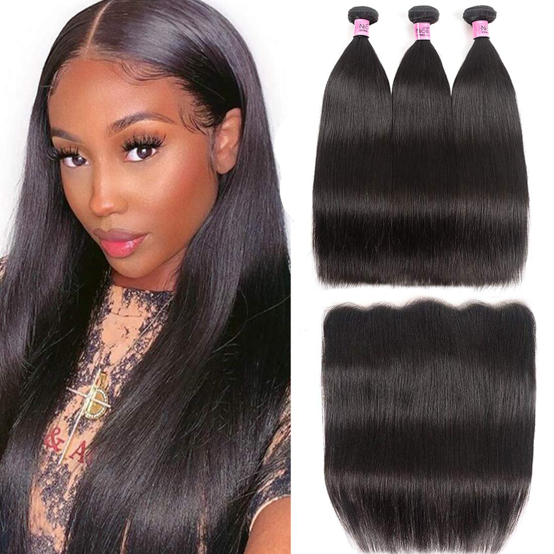 Unice Hair Malaysian Straight Virgin Hair 3 Bundles Wefts with 13X4 Ear to Ear Lace Frontal Closure Human Hair Extensions Natural Color (12 14 16+10Frontal)