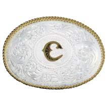 Montana Silversmiths Initial Letter Silver Engraved Gold Trim Western Belt Buckle