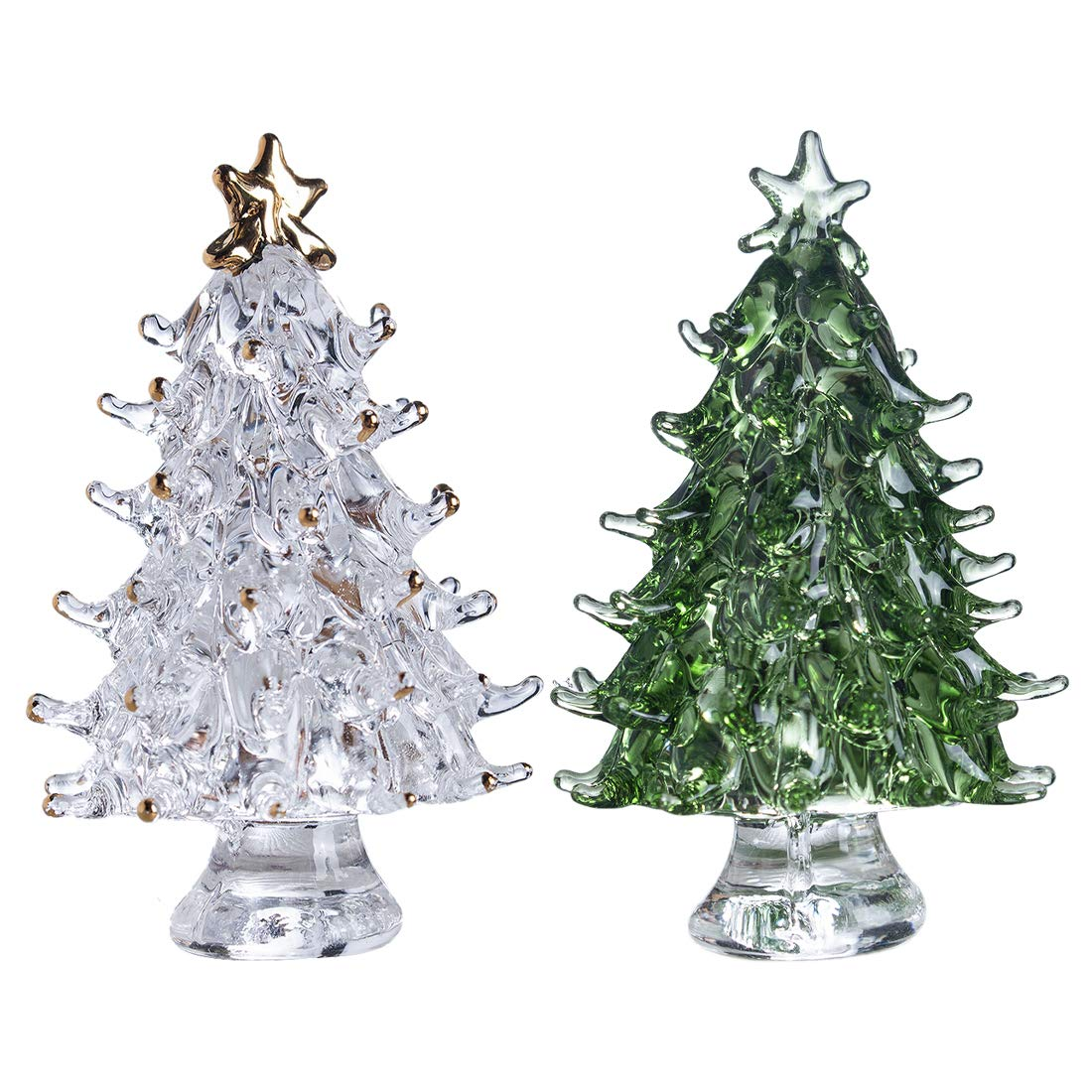 H&D Crystal Glass Christmas Tree Figurines,Pack of 2