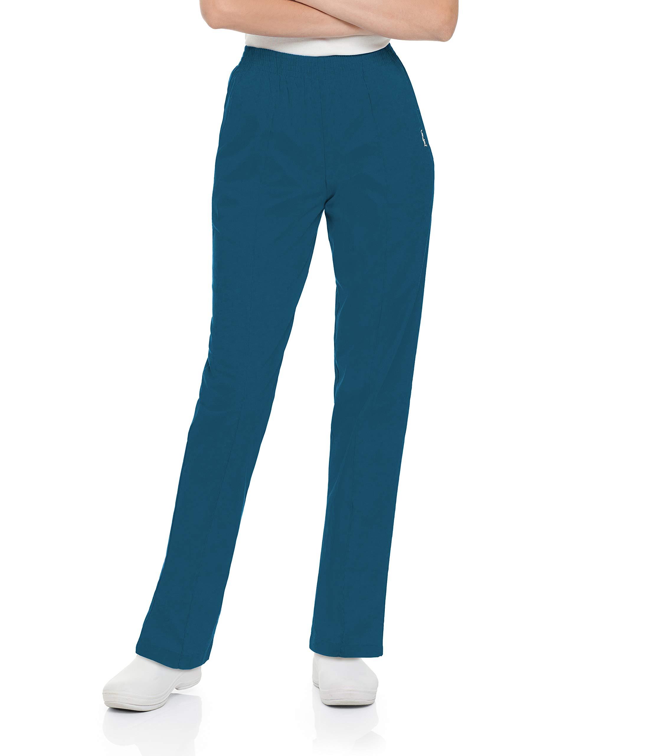 Landau Women's Comfortable 2-Pocket Classic Fit Medical Scrub Pant Uniform, Caribbean Blue, X-Small Petite