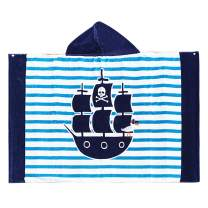 Copinkco Kids Hooded Bath and Beach Towel, 30 X 50 Inch Large Soft Cotton Terry Towel for Bath/Beach/Swimming (Cartoon Ship)
