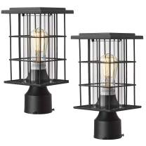Zeyu 2 Pack Outdoor Post Light Fixtures, Exterior Post Lantern, Black Finish with Clear Glass Shade, 3066A2 BK
