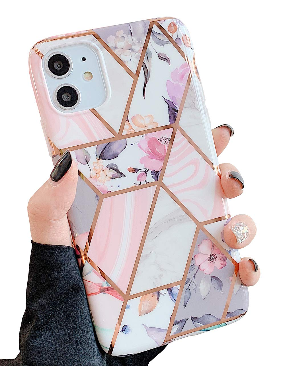 """KERZZIL iPhone 11 Flower Case for Girls and Women, Trendy Shiny Rose Gold Glossy Marble Design with Pink Floral and Purple Leaves, Protective Phone Case Compatible with iPhone 11 6.1"""" (Pink Flower)"""