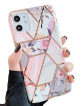 "KERZZIL iPhone 11 Flower Case for Girls and Women, Trendy Shiny Rose Gold Glossy Marble Design with Pink Floral and Purple Leaves, Protective Phone Case Compatible with iPhone 11 6.1"" (Pink Flower)"