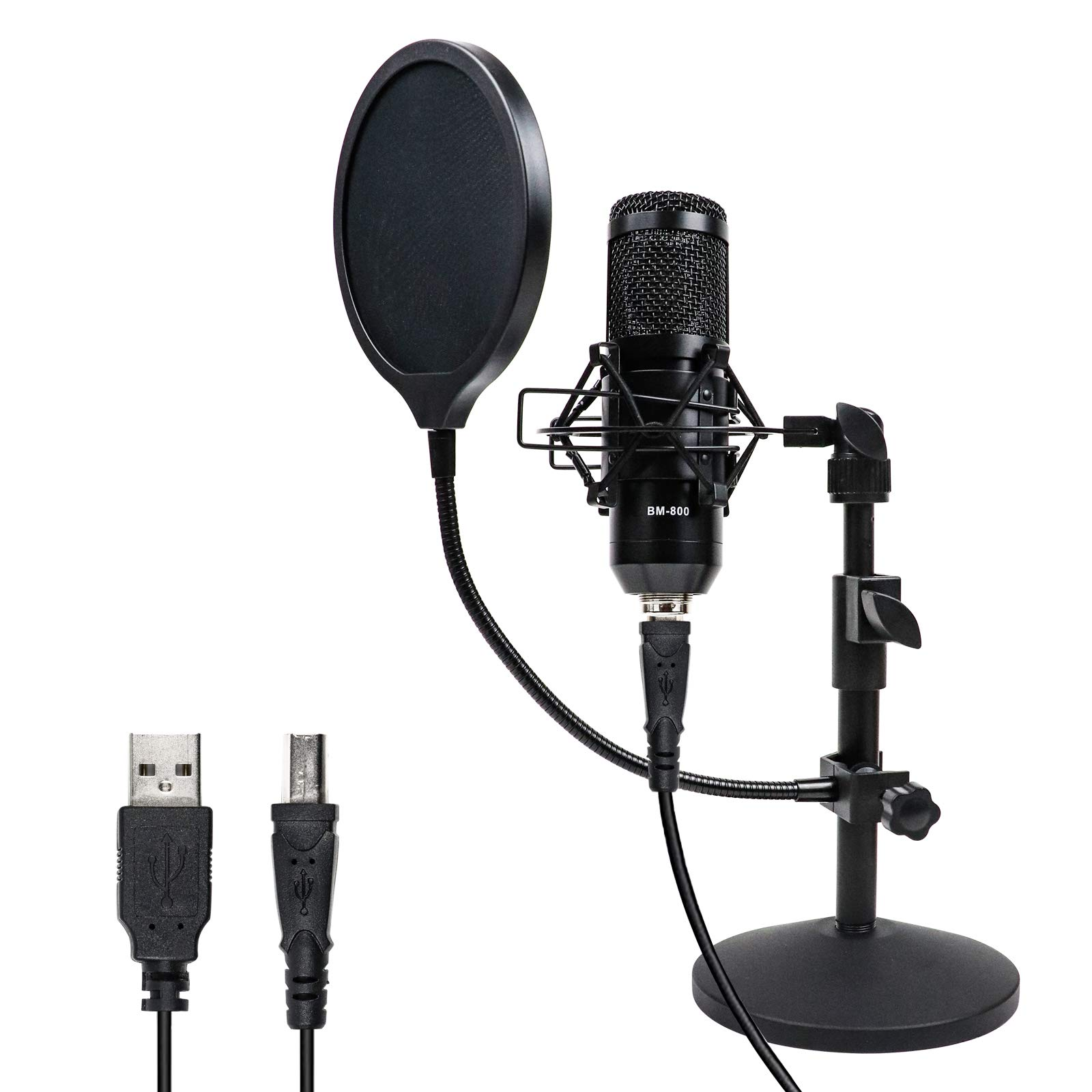 MSIZOY USB Condenser Microphone Kit,Cardioid Computer Mic 192KHZ/24Bit with Shock Mount Pop Filter for Recording, Streaming, Gaming, Broadcasting,etc.