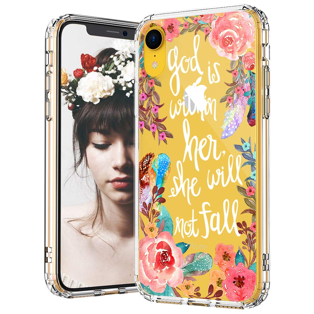 MOSNOVO iPhone XR Case, Floral Flower with Christian Quote Pattern Printed Clear Design Transparent Plastic Back Case with TPU Bumper Protective Case Cover for iPhone XR