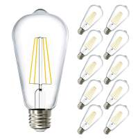 Sunco Lighting 10 Pack ST64 LED Bulb, Dimmable, Waterproof, 8.5W=60W, 2700K Soft White, Vintage Edison Filament Bulb, 800 LM, E26 Base, Restauarant or String Lights - UL