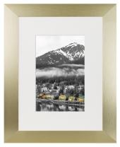 Golden State Art, 8x10 Gold Color Satin Aluminum Picture Frame with Ivory Color Mat for 5x7, Landscape Or Portrait Table-top & Real Glass (8x10)