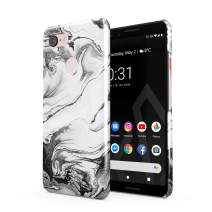 BURGA Phone Case Compatible with Google Pixel 3 - Silver Flow Water Grey Black and White Marble Cute Case for Girls Thin Design Durable Hard Shell Plastic Protective Case