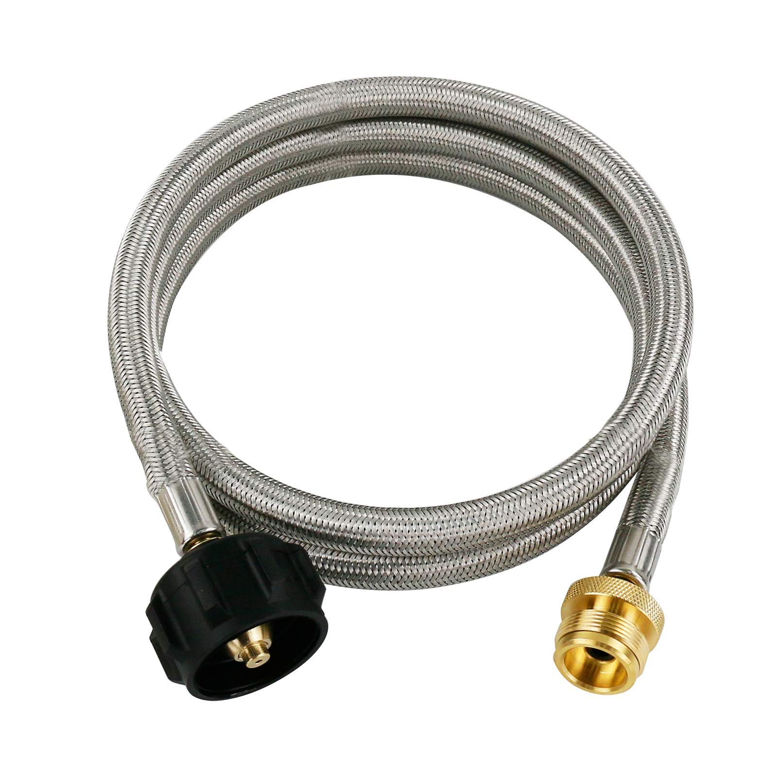 Uniflasy 5FT Propane Stainless Braided Hose Adapter, Camp Propane Tank Converter, 1lb to 20lb Connects Propane Adapter for Grill, Griddle, Camping Stove, Heater and More Portable Appliances LP Tank