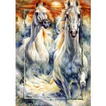 MXJSUA DIY 5D Diamond Painting by Number Kits Full Round Drill Rhinestone Picture Art Craft for Home Wall Decor White Horse 12x16In