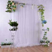 White Backdrop Curtain for Parties Baby Shower Bridal Photography Drape Backdrop for Photoshoot Birthday Wedding 5ft x7ft White Curtains Tulle Backdrop