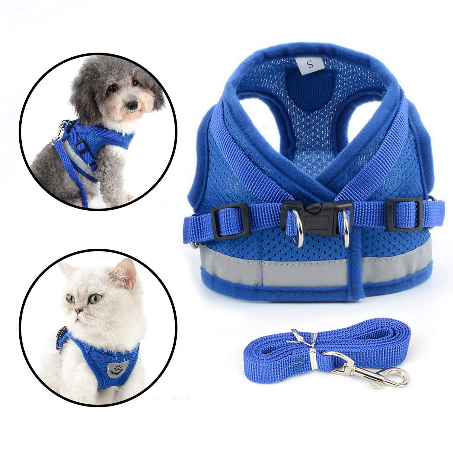 Zunea Escape Proof Cat Harness and Leash Set for Walking, Adjustable Reflective No Pull Soft Mesh Padded Vest Harnesses, Step-in Boy Girl Puppy Harness for Training Hiking