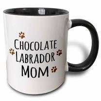 3dRose Chocolate Labrador Dog Mom Mug, 11 oz, Black