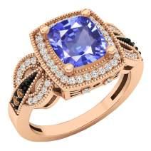 Dazzlingrock Collection 14K 8X7 MM Cushion Gemstone, Round Champagne & White Diamond Ladies Engagement Ring, Rose Gold