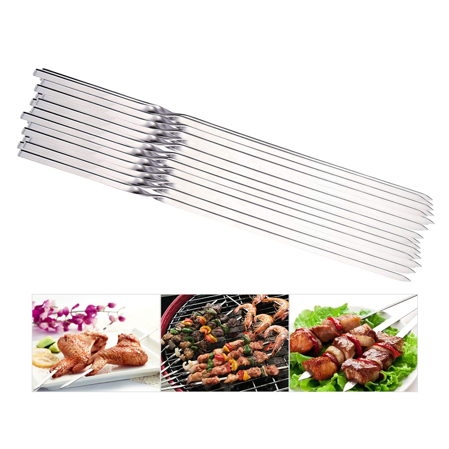 "REDCAMP Flat Barbeque BBQ Skewers Stainless Steel, Set of 20, 15.3"" Long Metal Reusable Kabob Skewers for Grill"