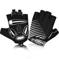 MOREOK Cycling Gloves,Half Finger Mountain Bike Gloves 5MM SBR+Liquid Gel Padded Anti-Slip Shock-Absorbing Touchscreen MTB Gloves Bicycle Gloves for Men Women